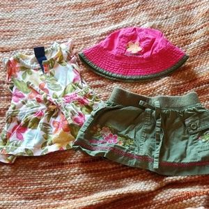 Baby girls 3 6 month skirt shirt hat bundle outfit